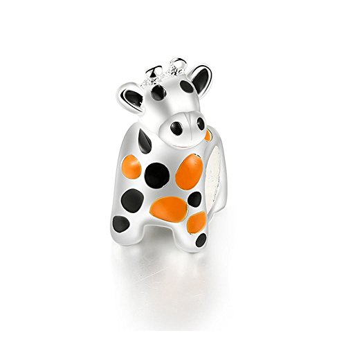 Blue Pearls - Bead Cow Charms Stainless Steel and Orange and Black Enamel - MIS 4495 V MIS 4495 V