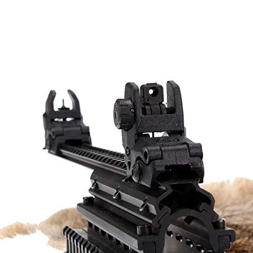 (CRUSHUNT Tactical Folding Front Rear Set Flip Up Backup Sights BUIS Polymer Sights Windage Adjustment for 1913 Picatinny Rail Black)