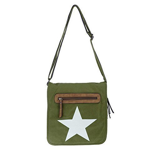 Multiuso Stelle grigio Stoffa Bag Borsa Di Army Messenger Beige Tela Unisex Green Spalla Courierbag UO7w6q