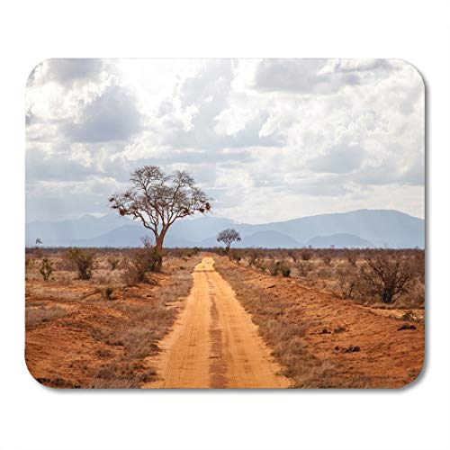 Semtomn Mouse Pad Blue Savanna Landscape of Kenya Red Road Yellow African Mousepad 9.8