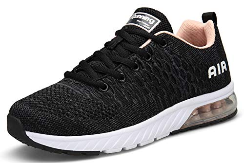 TSIODFO Gym Shoes for Women Trail Running Shoes Flyknit Breathable Comfort air Cushion Tennis Shoes Workout Athletic Grey Pink Sneakers Size 8 (8082-Dark Grey pink-39) (For Women Italian Shoes Sport)