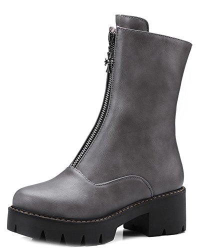 Zipper Boots Women's Aisun Gray Platform Top Round Toe Mid Daily X8Cv1q8O