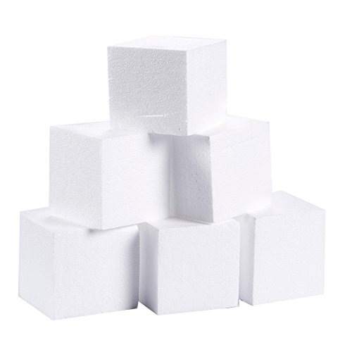 (Craft Foam Cube - 6-Pack Square Polystyrene Foam Block Foam Brick for Sculpture, Modeling, DIY Arts and Crafts - White, 4 x 4 x 4 inches)