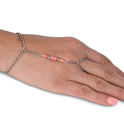 American West Sterling Silver Salmon Coral Chain Bracelet and Ring
