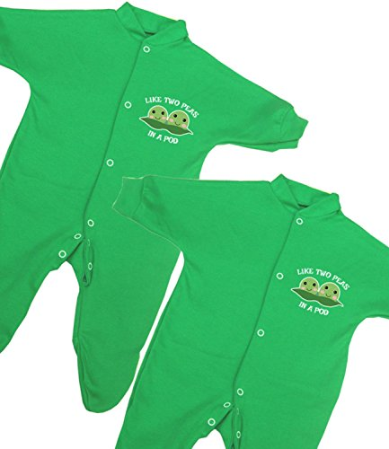 BabyPrem Baby Twins 2 Footies Cotton Clothes Peas in a Pod 0-3 Months (Two Peas In A Pod Saying)