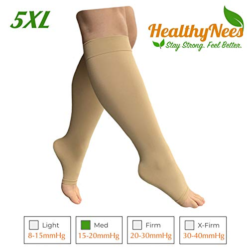 HealthyNees 15-20 mmHg Compression Med Grade Extra Wide Big Large Plus Size Calf Fatigue Leg Swelling Circulation Women Men Open Toe Sock (Beige, 5XL)