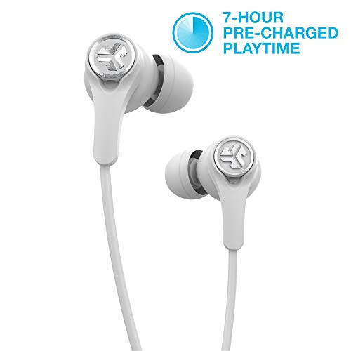 JLab Audio Epic Executive Wireless Active Noise Canceling Earbuds | Bluetooth 4.1 | 11-Hour Battery Life | Universal Music Control | Bluetooth Headphones, Travel Case Included | White