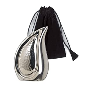 Elegante Beautifully Crafted Bright Silver Tear Drop Series Keepsake with Elegant Velvet Pouch