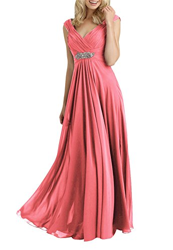 Always Pretty Women's V-Neck Empire Line Mother of The Bride Dresses Coral US 20W