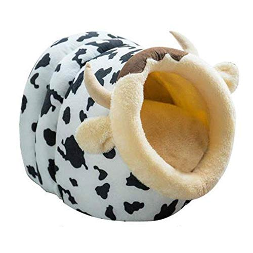 AUOKER Pet Cat Dog Cartoon Bed/Cave/ Perch/Hideout/ Cushion/Nest Self Warming, Cat Kennel with Soft Mat for Cat Keep Warm in Winter - Portable, Washable, Cute, Cosy- Sleeping Bag Basket (Cow)