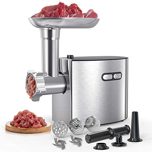 Electric Meat Grinder | cheffano ALTRA Meat Processor with Sausage Maker Kubbe Attachment | Stainless Steel Blade Cutting Discs | Easier To Use | Home Use Meat Mincer Silver