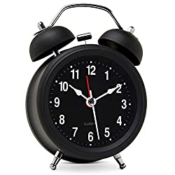 Bernhard Products Analog Alarm Clock Mini 3 Twin Bell Black Silent Non Ticking Quartz Battery Operated Extra Loud with Backlight for Bedside Desk, Black Metal