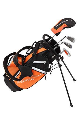 Aspire Golf Junior Plus Complete Golf Club Set for Children Kids – 5 Age Groups Boys & Girls – Right Hand (Orange Ages 5…