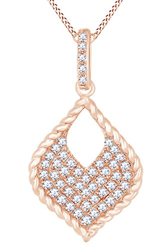 AFFY Round White Natural Diamond Marquise Shape Pendant Necklace in 14k Solid Rose Gold (0.22 Ct)