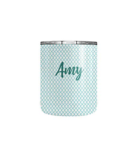 - Personalized Teal Geometric Print Monogram Tumbler Coffee Mug - Custom Stainless Steel Monogrammed Initial Letter Double Walled Vacuum Insulated Travel Mug Cup with Crystal Clear Lid (10oz Tumbler)