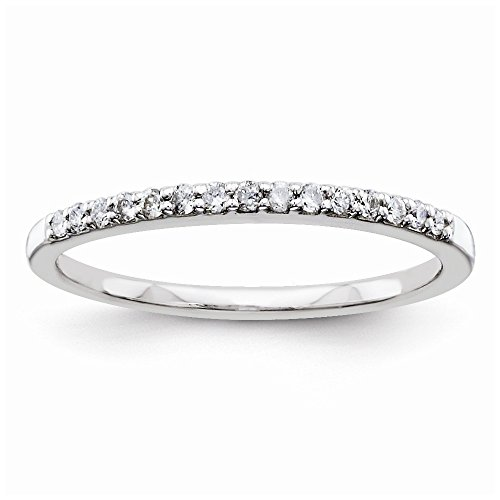 925 Sterling Silver Half Eternity Diamond Wedding Band for Women Size 7 (0.15ct, HSI2) by Diamond2Deal