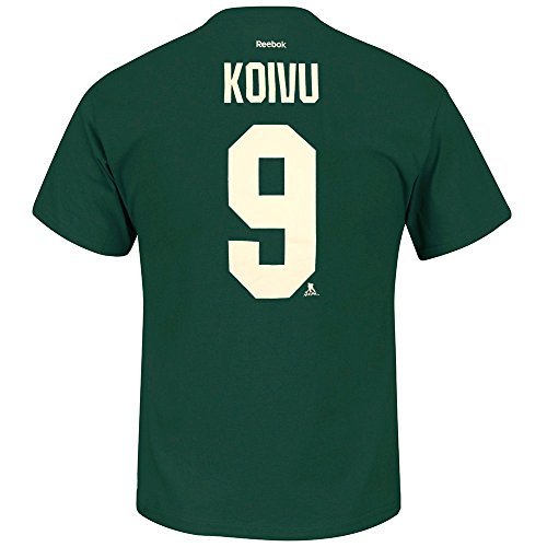 - Mikko Koivu Minnesota Wild NHL Reebok Men Green Player Name & Number Jersey T-Shirt (L)
