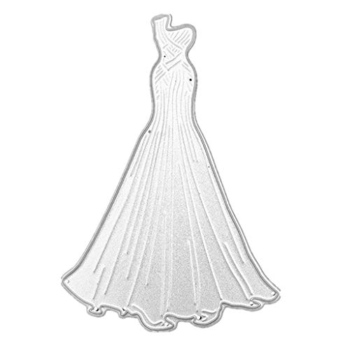 (GUINV Carbon Steel Wrap Hip Wedding Dress Cutting Die Embossing Stencil Template Mold DIY Paper Art Craft Scrapbook Bookmark Card Decor)