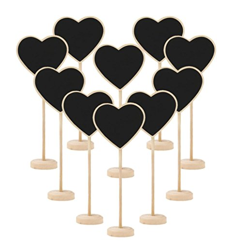 Mini Message Table, 10Pcs Mini Wooden Chalkboard Blackboard Message Table Number Wedding Party (Pia Down Pendant)