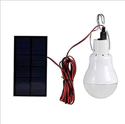 Solar Powered Led Light Bulb,Portable 15W 110LM Led Solar Lamp Spotlight with 1W Solar Panel for Outdoor Camping Tent Fishing Lighting(Used 5-6hours)