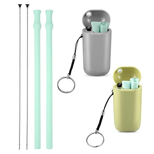 Vantic Collapsible Reusable Silicone Straws, Portable Folding Drinking Straw BPA Free with Travel Case & Cleaning Brush for 20 or 30 oz Tumblers - Green & Gray Case