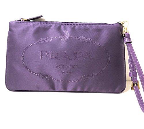 Prada Women's Purple Nylon Jacquard Wristlet Handbag 1NH545 by Prada