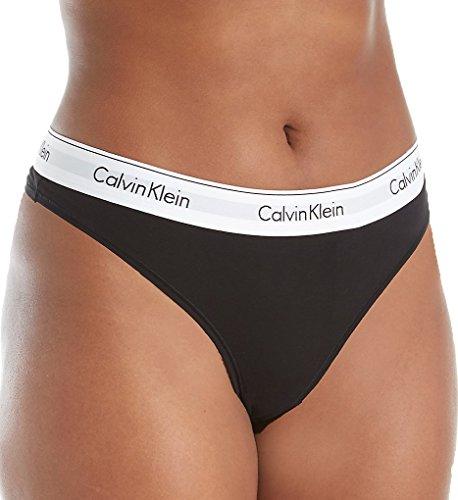Calvin Klein Women's Plus Size Modern Cotton Thong Panty, Black, 3X