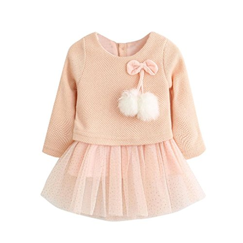 1a3c6a0e746 Anxinke Baby Toddler Girls Knitted Long Sleeve Bow Tutu Dress for 0-24  Months (