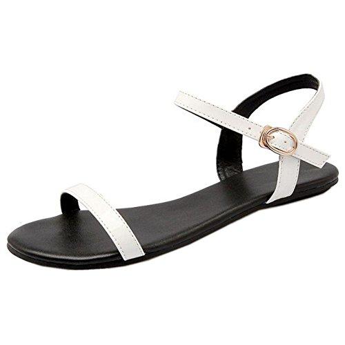 FANIMILA Mujer Simple Al Tobillo Punta Abierta Planos Sandalias Slingback Colegio Zapatos Blanco