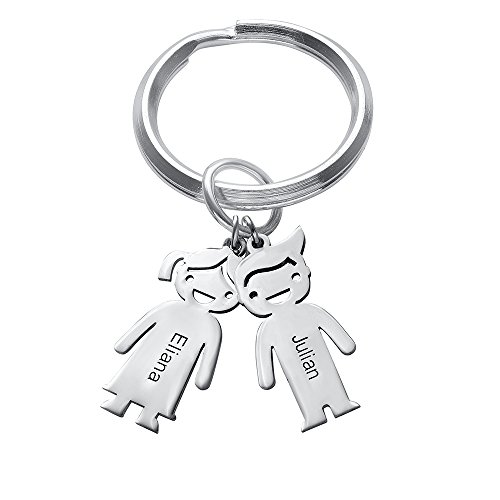 Tiffany Style Key Ring - MyNameNecklace 925 Silver Personalized Children Charm Keychain-Custom Engrave 2 Boy/Girl Charms