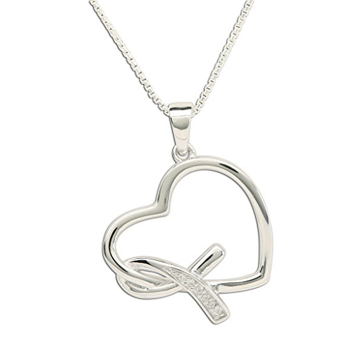 Sterling Silver Heart Never Give up - You are Loved Breast Cancer Awareness Ribbon Necklace 18