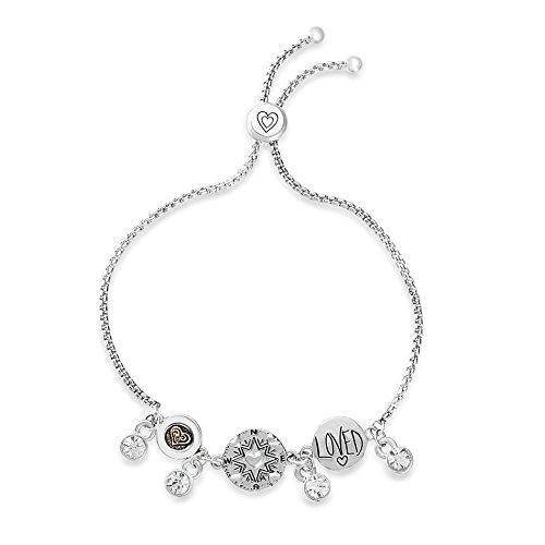 WILLOWBIRD Crystal Dangle Loved Heart Compass Disc Charm Slider Adjustable Bracelet for Women in Two-Tone Plated Brass (Loved)