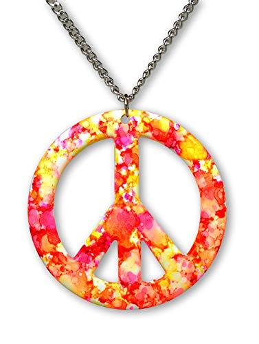 Real Metal Orange Pink Hippie Tie Dye Peace Sign Enamel on Pewter Pendant Necklace (Large)