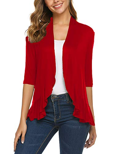 Zeagoo Women's 3/4 Sleeve Cropped Cardigans Sweaters Jackets Open Front Short Shrugs for Dresses Red S