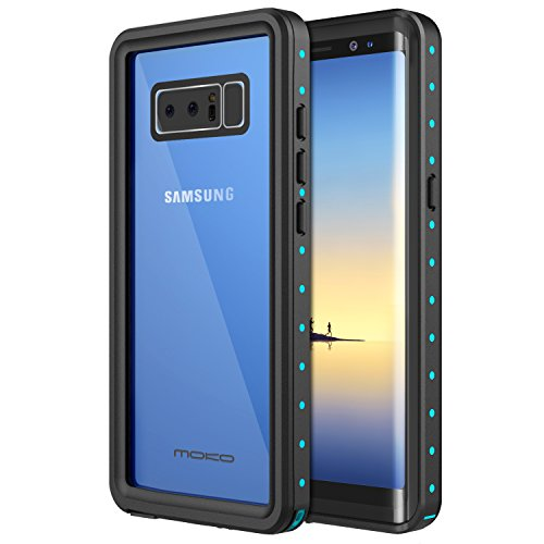 MoKo Samsung Galaxy Note 8 Waterproof Case with Built-in Screen Protector Ultra Protective Shock-absorbing Bumper Dustproof Submersible Full-body Case for Samsung Galaxy Note 8, Black + Blue