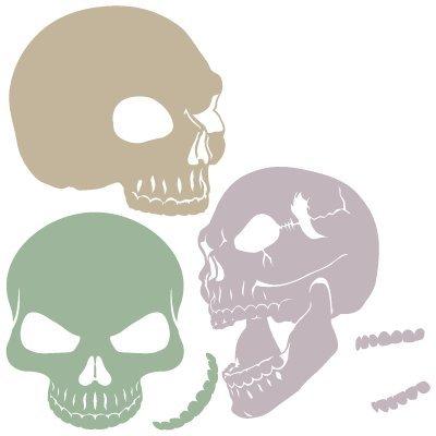 Stencil Skull 007 Set. Stencil size: 20x30 cm (7, 9x11, 8 in). Design size: 18x25, 3 cm (7, 1x10 in) Wega Elite Products