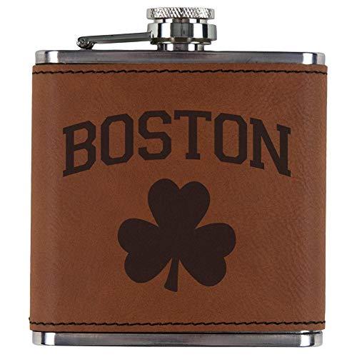 Old Glory St. Patricks Day Boston Shamrock Etched Leatherette Flask Rawhide Standard One Size