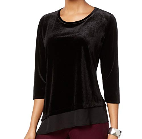 NY Collection Womens Asymmetrical Bell Sleeves Pullover Top Black XL