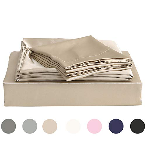 - Homiest King Sheet Set Taupe Satin Bedding Sheets Set, 4pc King Bed Sheet Set with Deep Pockets Fitted Sheet