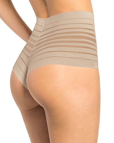 Leonisa Women's Sexy High Waist Rear Enhancing Thong Panty