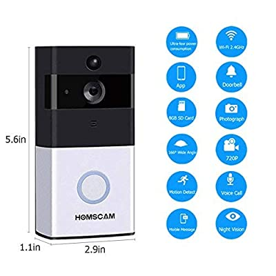 WiFi Wireless Video Doorbell with 8G Memory Storage and Two-Way Talk, Smart Door Bell Security Cemera Wireless with PIR Motion Detection, Day and Night Mode Automatic Switching