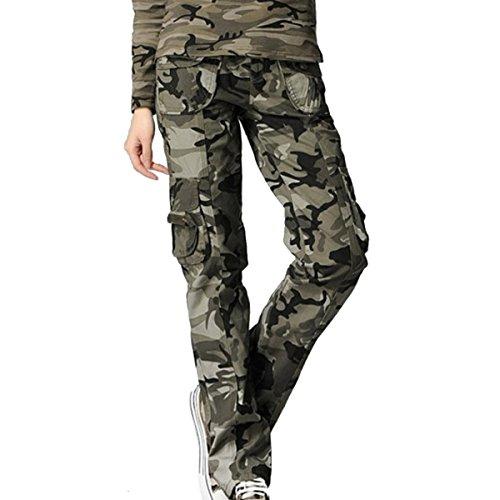 AUBIG Damen Mädchen Casual Baumwolle Camouflage Camo Printed Hose Cargohose Militärhose Rangerhose Freizeithose Sporthose für Camping Hiking Outdoor Sport - Asiatische Größe M