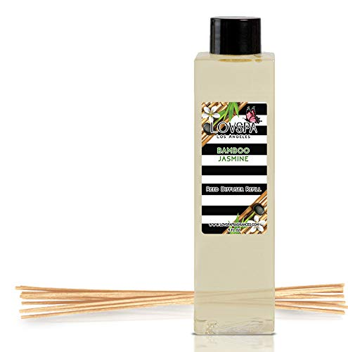 (LOVSPA Bamboo Jasmine Reed Diffuser Oil Refill with Replacement Reed Sticks | A Green Fragrance of Wild Bamboo, Black Currant, Green Palm & White Jasmine, 4 oz| Made in The USA)