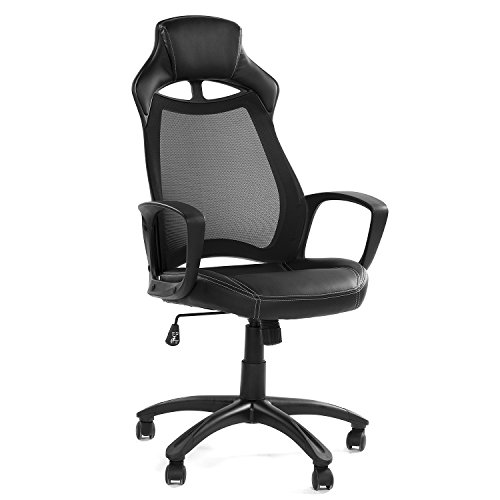 Green Forest GreenForest Office Desk Chair Computer Executive Swivel Chair with Mesh High Back and PU Leather Seat Base Headrest, Black - Executive Chair Office Furniture