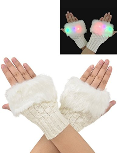 Luwint LED Color Changing Lighting Girls Fashion Fingerless Knit Gloves, 6 Colors Rave Flashing Lights Mittens for Bar, Party, Nightclub (2)