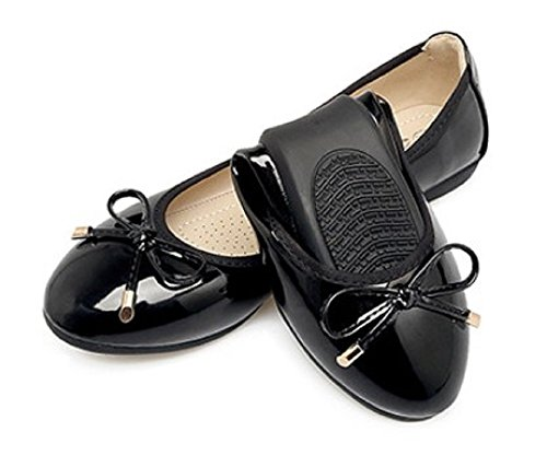 Mary's Chue Women Ballet Flats Shoes [ Black with No Show Socks ] Foldable Anti-Skid Soft Bottom Casual Sandals (12 W (Black Patent Leather Ballerina)