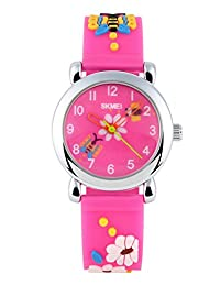 SKMEI Kids SK1047B 3D Creative Novelty Cute Japan Quartz Waterproof Watc Rose Red