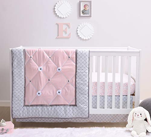 The Peanutshell Princess Crib Bedding Set for Baby Girls | 3 Piece Pink and Grey Nursery Set | Baby Quilt, Crib Sheet, and Dust Ruffle