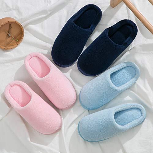 Boden mit 37EU 36 Plüsch Baumwolle Home Pink Blau Skid Indoor Dicken Farbe Weibliche Monat Hausschuhe Couples Slippers Modelle größe Niedlichen Pantoffeln Paket Warm AMINSHAP BXq10fw