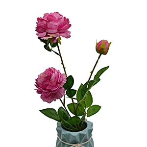 YONGSNOW 5 Pack 3 Heads Artificial Silk European Rose Flowers Peony Flower Long Stem for Home Garden Party Wedding Christmas Decoration (F06 Rose) 83